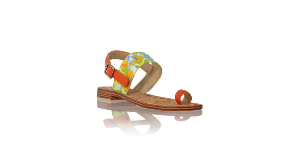 Leather-shoes-Prana 20mm Flat - Orange Leather & Yellow Blue Flower twill cotton-sandals flat-NILUH DJELANTIK-NILUH DJELANTIK