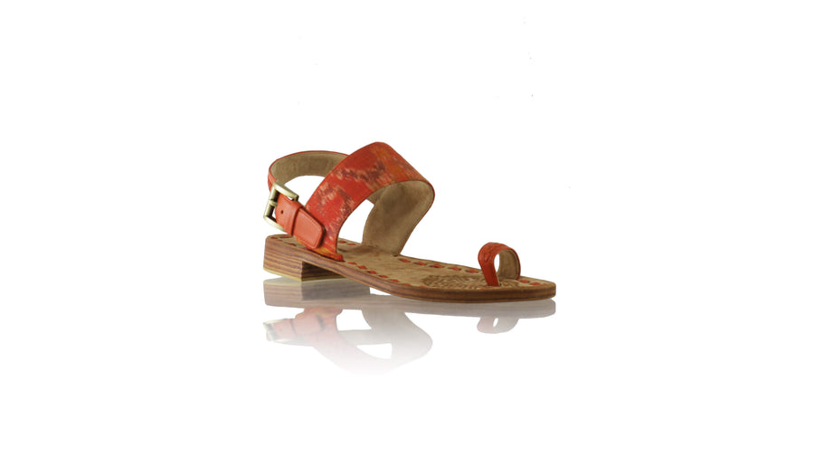Leather-shoes-Prana 20mm Flat - Orange & Orange Handwoven Ikat-sandals flat-NILUH DJELANTIK-NILUH DJELANTIK