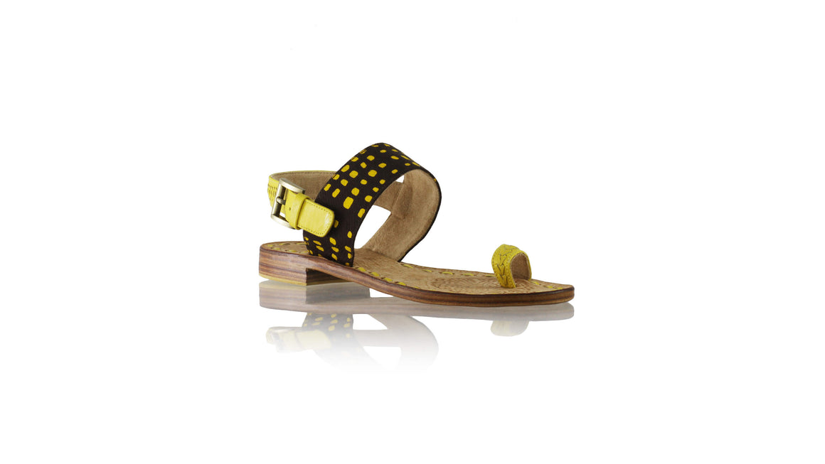 Leather-shoes-Prana 20mm Flat - Yellow & Brown Yellow Square-sandals flat-NILUH DJELANTIK-NILUH DJELANTIK