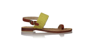leather shoes Prana 20mm Flats - Yellow Lime & Burnt Orange, sandals flat , NILUH DJELANTIK - 1