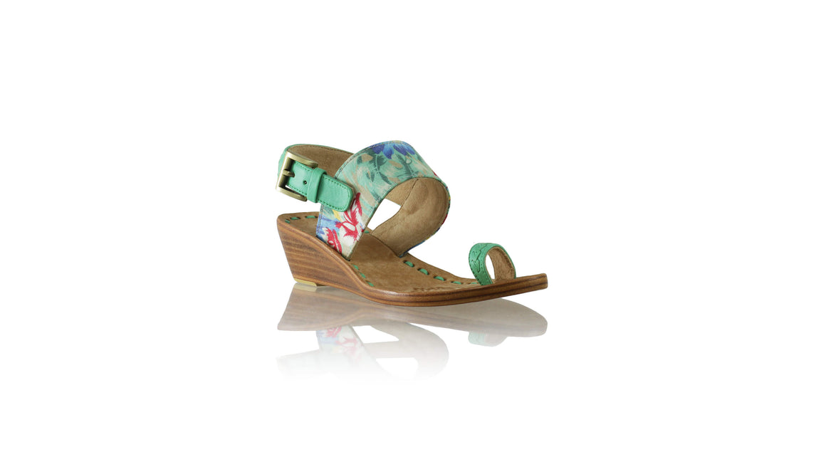 Leather-shoes-Prana 35mm Wedges - Aqua & Blue Twill Cotton-sandals wedges-NILUH DJELANTIK-NILUH DJELANTIK