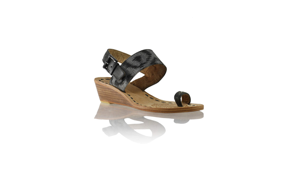 Leather-shoes-Prana 35mm Wedges - Black & Grey Handwoven Ikat-sandals wedges-NILUH DJELANTIK-NILUH DJELANTIK