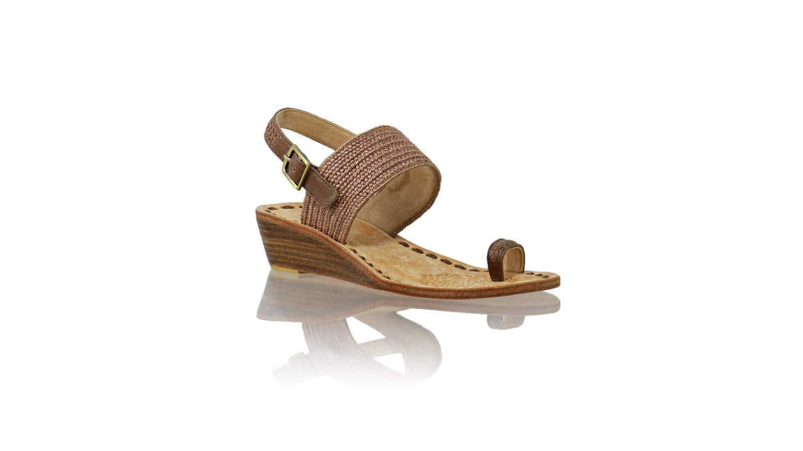Leather-shoes-Prana 35mm Wedges - Brown Leather & Brown Ribbon-sandals wedges-NILUH DJELANTIK-NILUH DJELANTIK