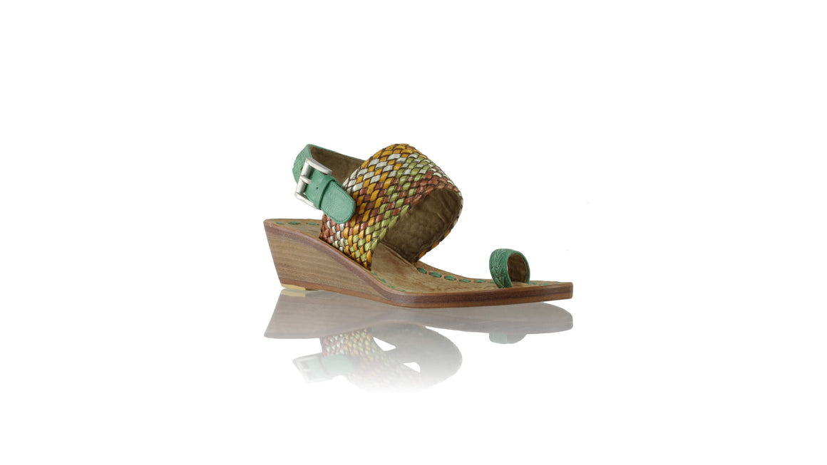 Leather-shoes-Prana 35mm Wedges - Green & Multicolored Ribbon-sandals wedges-NILUH DJELANTIK-NILUH DJELANTIK
