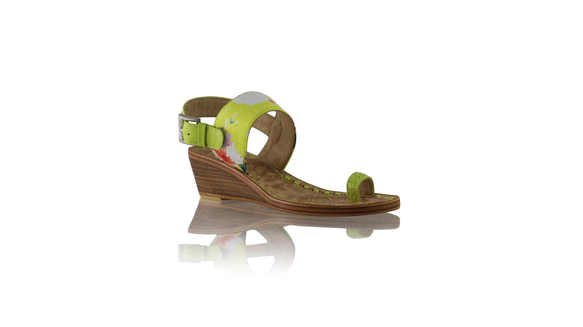 Leather-shoes-Prana 35mm Wedges - Lime Green & Yellow Flower-sandals wedges-NILUH DJELANTIK-NILUH DJELANTIK