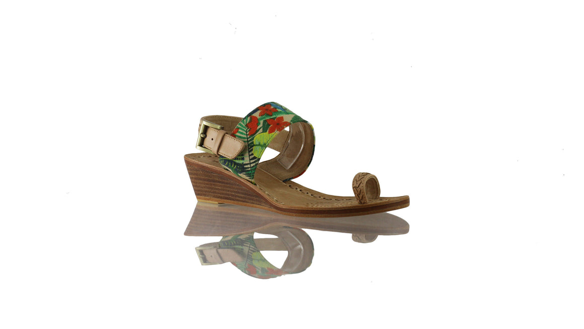 Leather-shoes-Prana 35mm Wedges - Nude & Multicolour Forest-sandals wedges-NILUH DJELANTIK-NILUH DJELANTIK