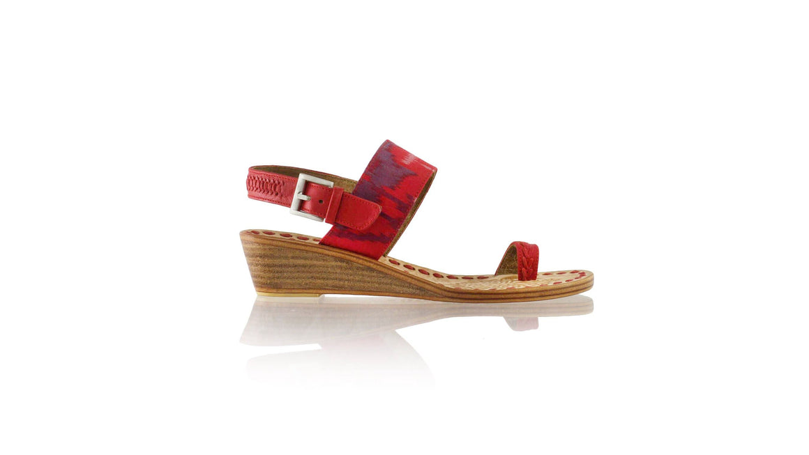 Leather-shoes-Prana 35mm Wedges - Red Handwoven Ikat-sandals wedges-NILUH DJELANTIK-NILUH DJELANTIK