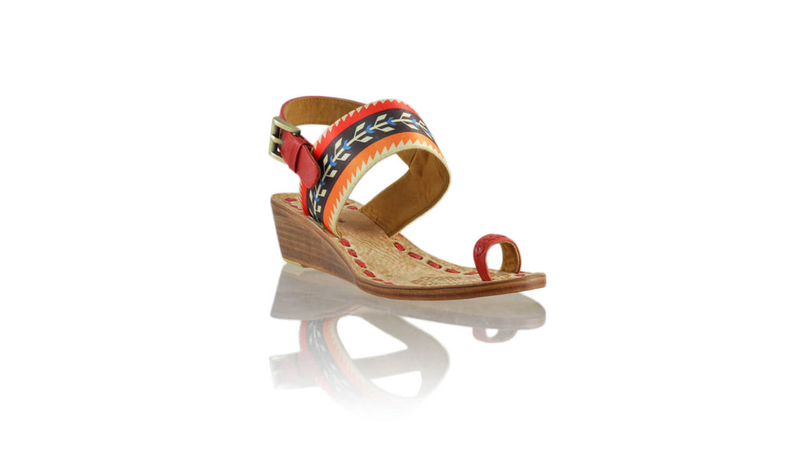 Leather-shoes-Prana 35mm Wedges - Red Leather with Red Black & Orange Ribbon-sandals wedges-NILUH DJELANTIK-NILUH DJELANTIK