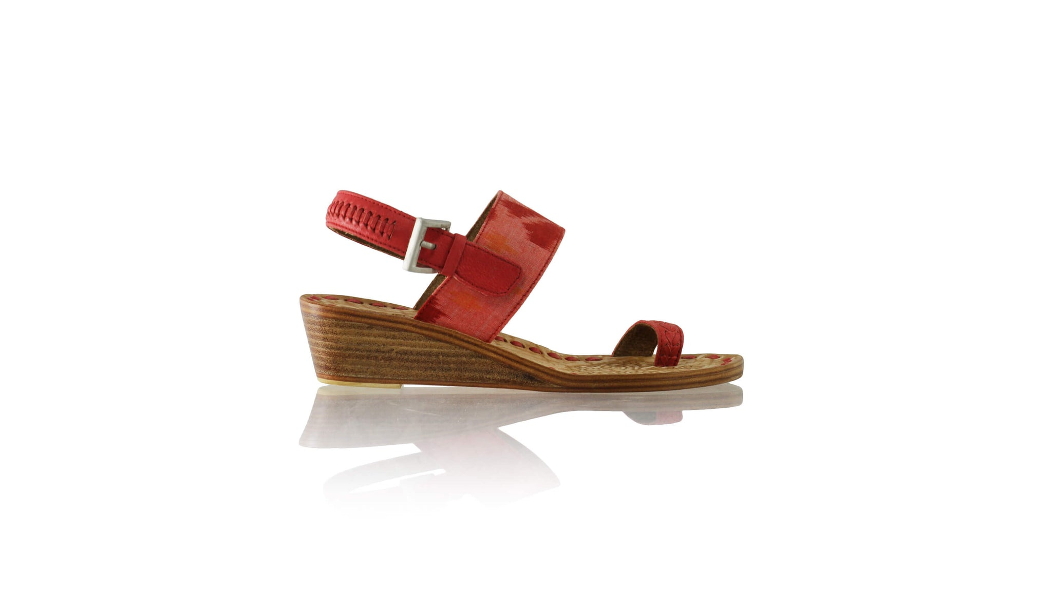 Leather-shoes-Prana 35mm Wedge - Red & Light Red Handwoven Ikat-sandals wedges-NILUH DJELANTIK-NILUH DJELANTIK