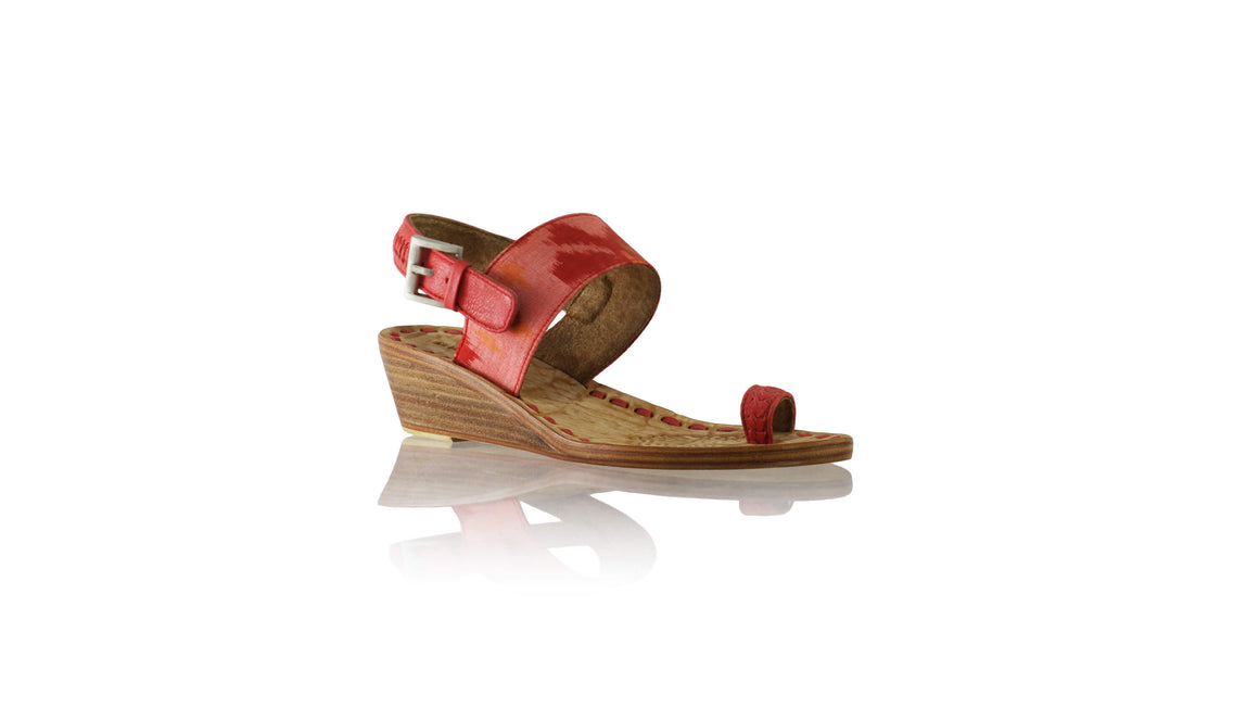 Leather-shoes-Prana 35mm Wedges - Red & Light Red Handwoven Ikat-sandals wedges-NILUH DJELANTIK-NILUH DJELANTIK