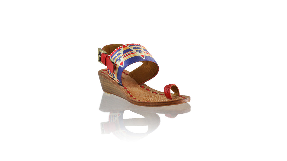 Leather-shoes-Prana 35mm Wedges - Red & Triangle Motif-sandals wedges-NILUH DJELANTIK-NILUH DJELANTIK