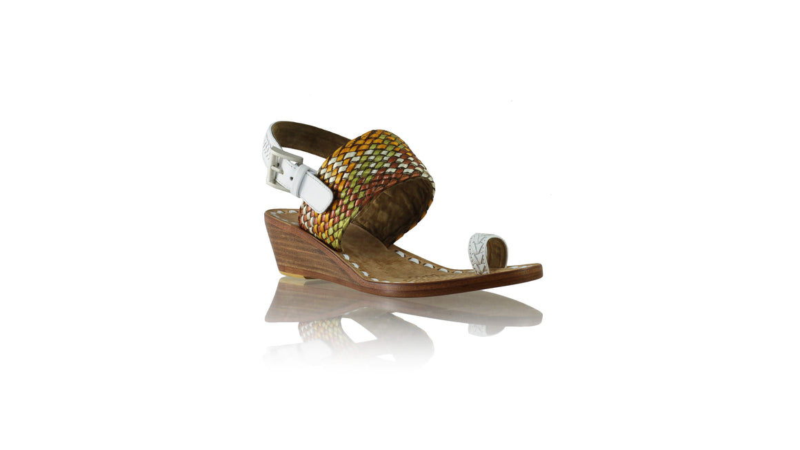 Leather-shoes-Prana 35mm Wedges - White & Multicolor Ribbon-sandals wedges-NILUH DJELANTIK-NILUH DJELANTIK