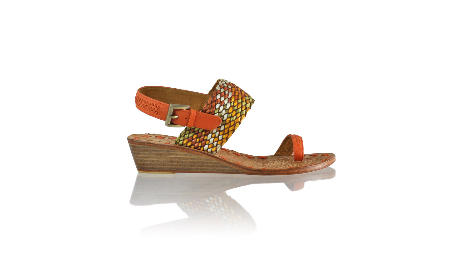 Leather-shoes-Prana 35mm Wedge - Orange & Multicolor Ribbon-sandals wedges-NILUH DJELANTIK-NILUH DJELANTIK