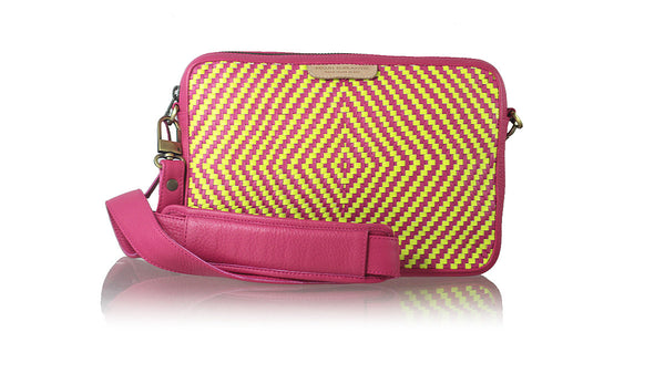 Leather-shoes-Precious Woven Eva Medium Bag - Fuschia & Neon Yellow-tote bags-NILUH DJELANTIK-NILUH DJELANTIK