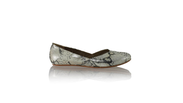 Leather-shoes-Punjab 5mm Ballet - White Cobra Print-flats ballet-NILUH DJELANTIK-NILUH DJELANTIK