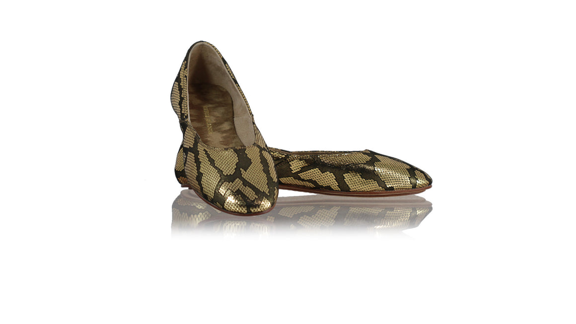 leather shoes Punjab ballet flats - Black & Gold Snake Pattern, flats ballet , NILUH DJELANTIK - 1