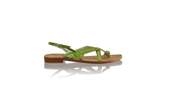 Leather-shoes-Romance 20mm Flat - Green BKK & Gold-sandals flat-NILUH DJELANTIK-NILUH DJELANTIK