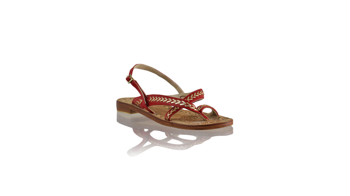 Leather-shoes-Romance Flat 20mm - Red BKK & Gold-sandals flat-NILUH DJELANTIK-NILUH DJELANTIK