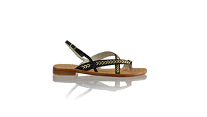Leather-shoes-Romance Flat 20mm - Black & Gold-sandals flat-NILUH DJELANTIK-NILUH DJELANTIK