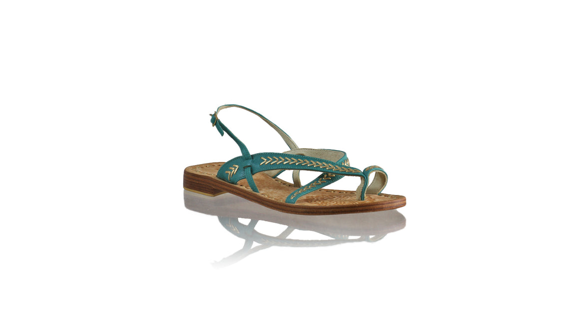 Leather-shoes-Romance Flat 20mm - Dark Aqua & Gold-sandals flat-NILUH DJELANTIK-NILUH DJELANTIK