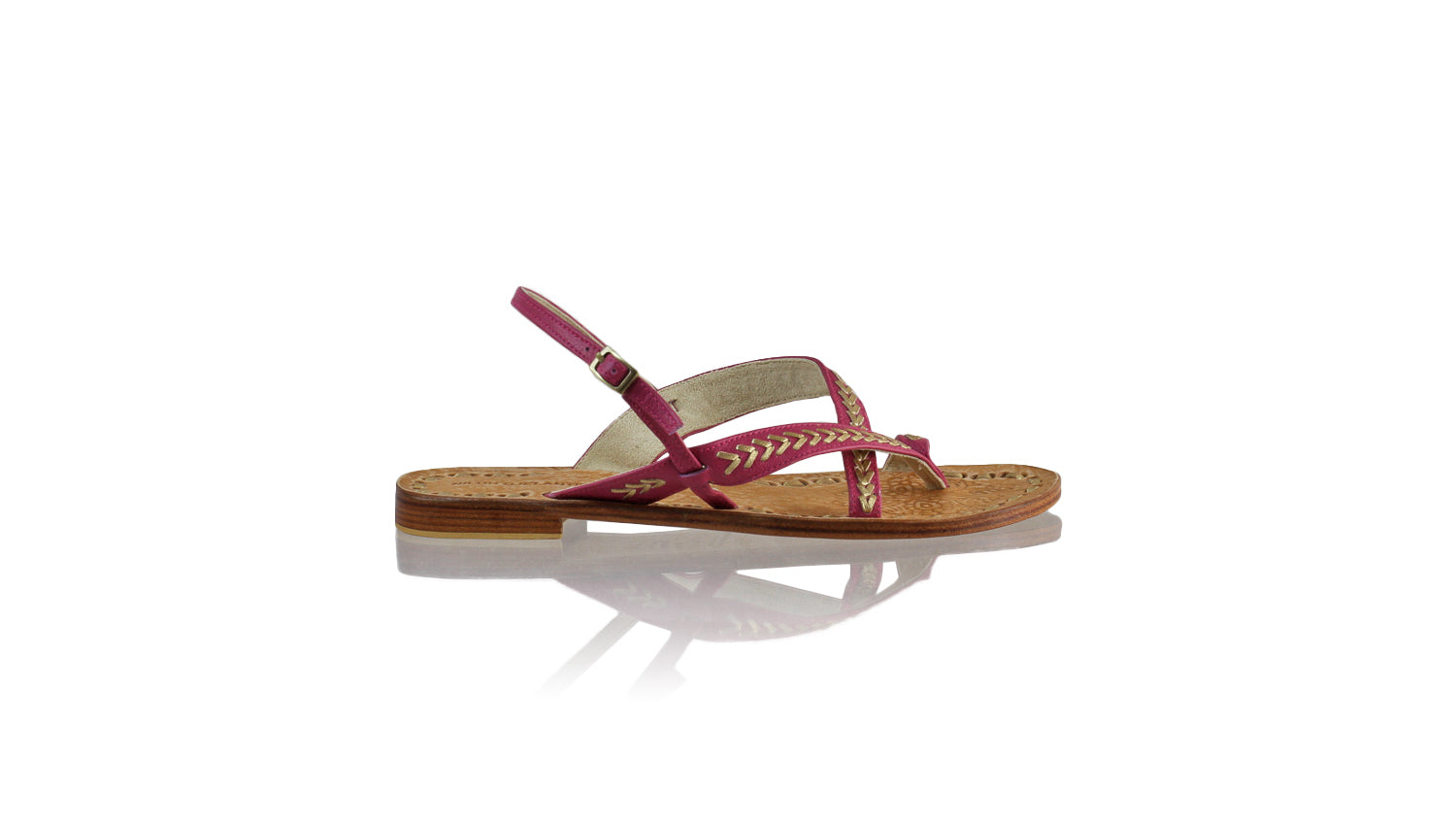 Leather-shoes-Romance 20mm Flat - Fuschia BKK & Gold-sandals flat-NILUH DJELANTIK-NILUH DJELANTIK