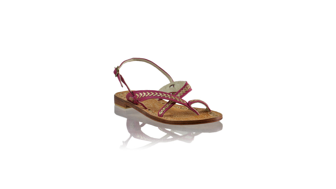 Leather-shoes-Romance Flat 20mm - Fuschia BKK & Gold-sandals flat-NILUH DJELANTIK-NILUH DJELANTIK