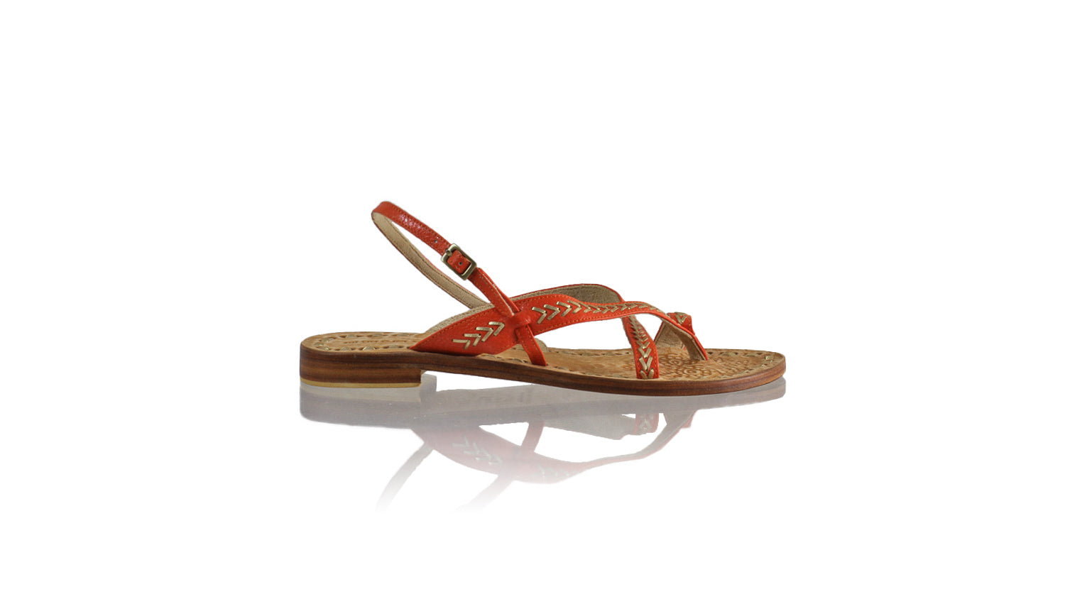 Leather-shoes-Romance 20mm Flat - Orange BKK & Gold-sandals flat-NILUH DJELANTIK-NILUH DJELANTIK