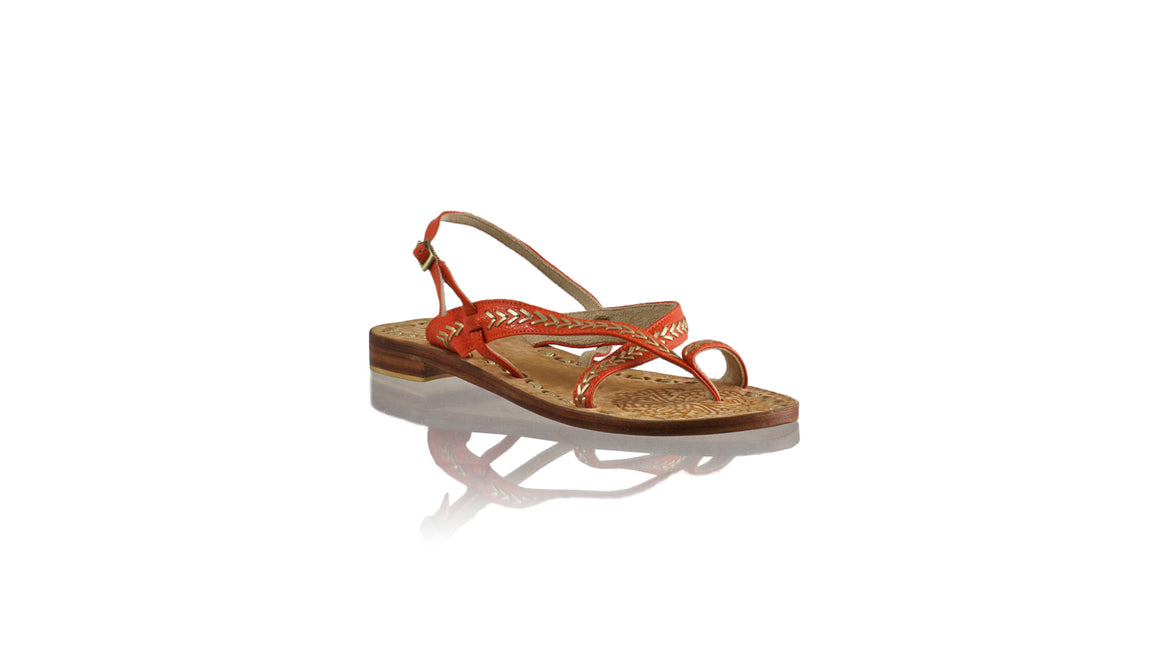 Leather-shoes-Romance Flat 20mm - Orange BKK & Gold-sandals flat-NILUH DJELANTIK-NILUH DJELANTIK
