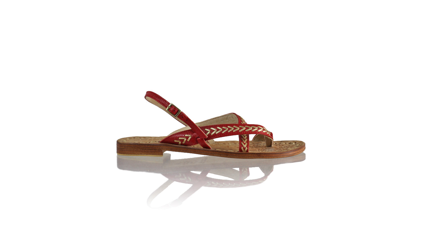 Leather-shoes-Romance 20mm Flat - Red BKK & Gold-sandals flat-NILUH DJELANTIK-NILUH DJELANTIK