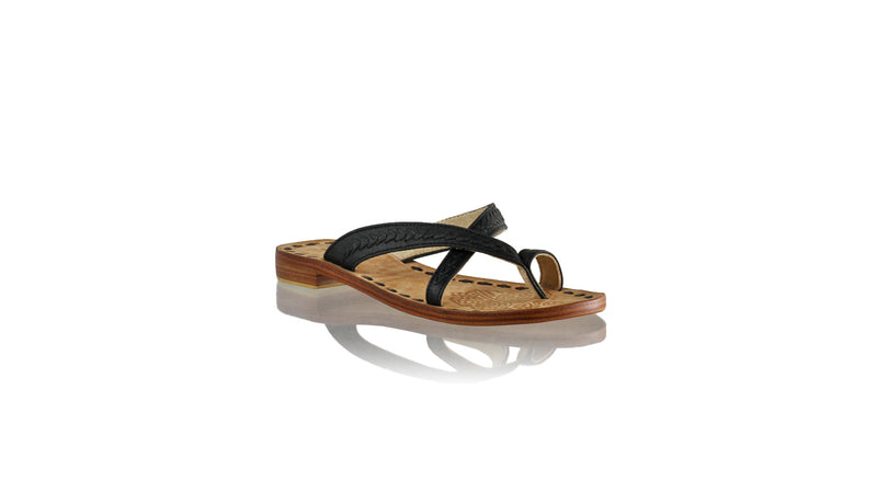 Leather-shoes-Romance Without Strap 20mm Flat - All Black-sandals flat-NILUH DJELANTIK-NILUH DJELANTIK