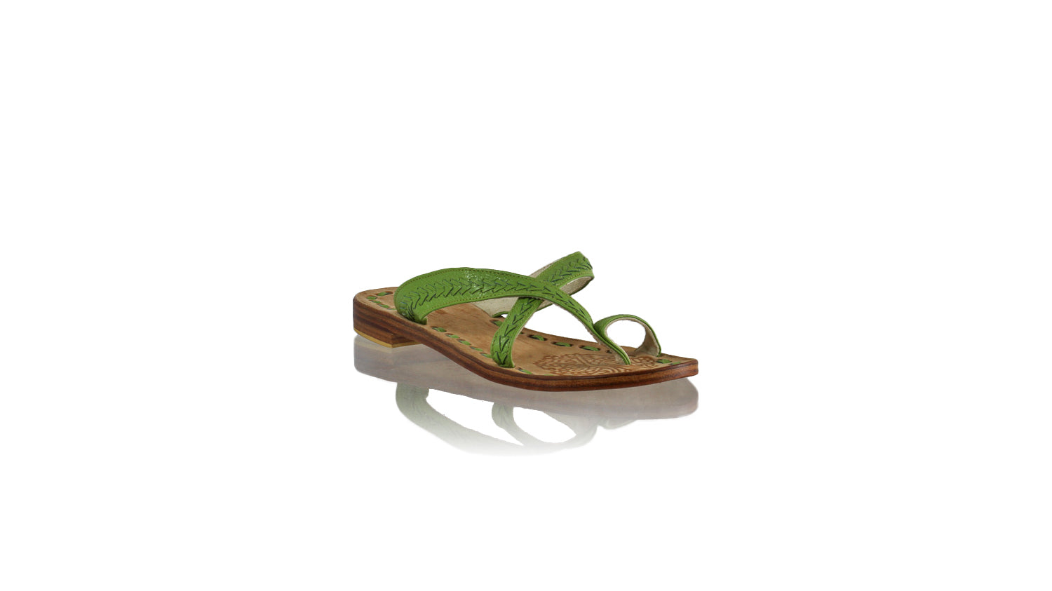 Leather-shoes-Romance Without Strap 20mm Flat - All Green BKK-sandals flat-NILUH DJELANTIK-NILUH DJELANTIK