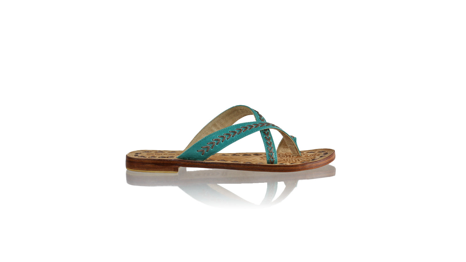 Leather-shoes-Romance Without Strap 20mm Flat - Dark Aqua & Bronze-sandals flat-NILUH DJELANTIK-NILUH DJELANTIK