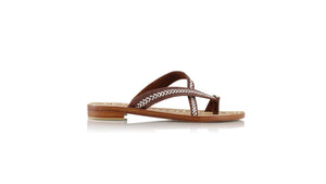leather shoes Romance Without Strap 20mm - Red Brown & Silver, sandals flat , NILUH DJELANTIK - 1