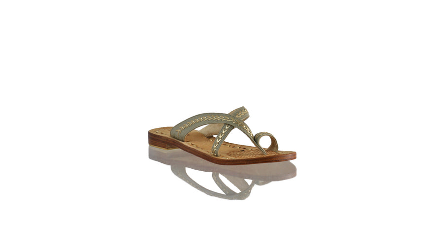 Leather-shoes-Romance Without Strap 20mm Flat - Grey & Gold-sandals flat-NILUH DJELANTIK-NILUH DJELANTIK