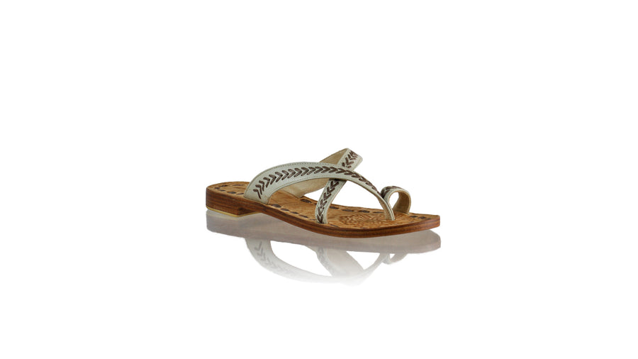 Leather-shoes-Romance Without Strap 20mm Flat - Ivory & Bronze-sandals flat-NILUH DJELANTIK-NILUH DJELANTIK