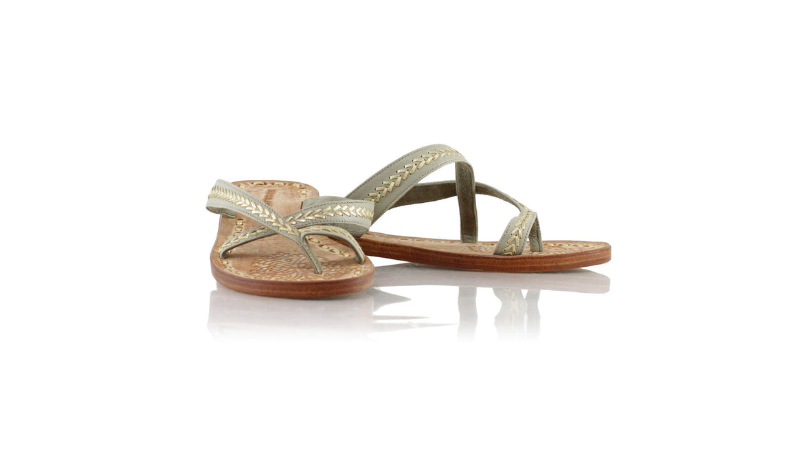 leather shoes Romance Without Strap 20mm - Light Grey & Gold, sandals flat , NILUH DJELANTIK - 1