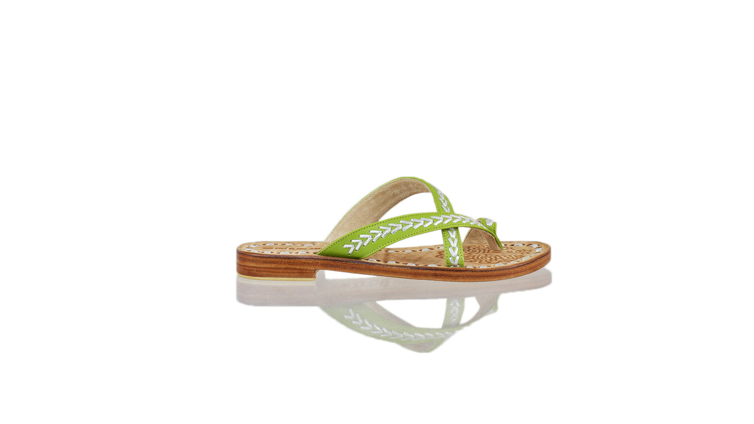 Leather-shoes-Romance Without Strap 20mm Flat - Lime Green & Silver-sandals flat-NILUH DJELANTIK-NILUH DJELANTIK