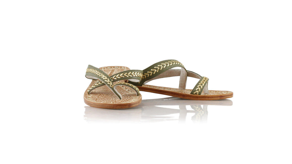 leather shoes Romance Without Strap 20mm - Olive & Gold, sandals flat , NILUH DJELANTIK - 1