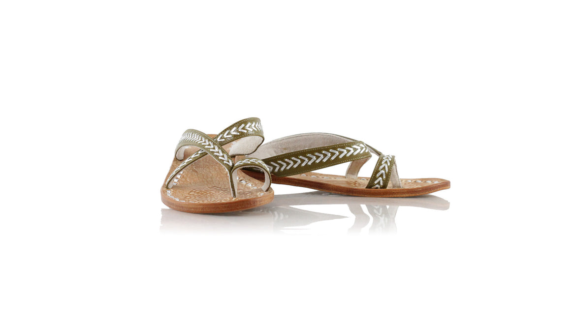leather shoes Romance Without Strap 20mm - Olive & Silver, sandals flat , NILUH DJELANTIK - 1