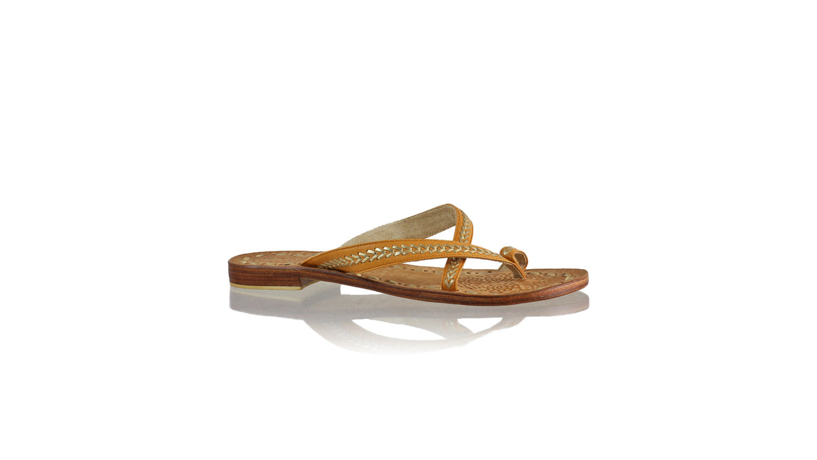 Leather-shoes-Romance Without Strap 20mm - Tan & Gold-sandals flat-NILUH DJELANTIK-NILUH DJELANTIK