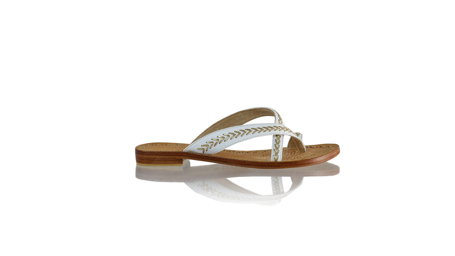 Leather-shoes-Romance Without Strap 20mm Flat - White & Gold-sandals flat-NILUH DJELANTIK-NILUH DJELANTIK