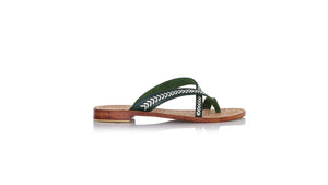 leather shoes Romance Without Strap 20mm Flats - Dark Green - Gold, sandals flat , NILUH DJELANTIK - 1