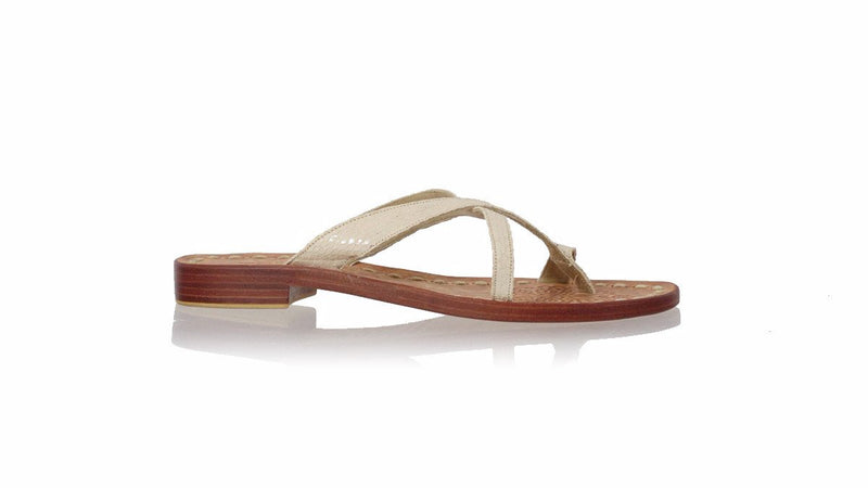 Leather-shoes-Romance Without Strap 20mm Flat - Cream Snake Print-sandals flat-NILUH DJELANTIK-NILUH DJELANTIK