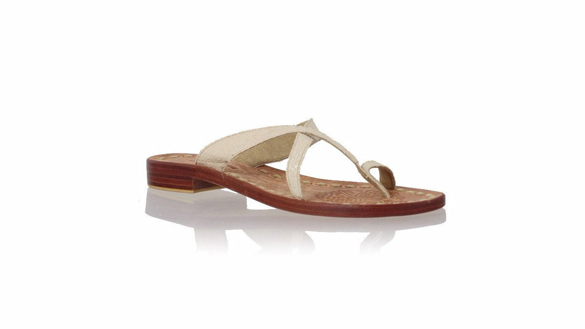 leather shoes Romance without Strap 20mm Flats - Cream Snake Print, sandals flat , NILUH DJELANTIK - 1