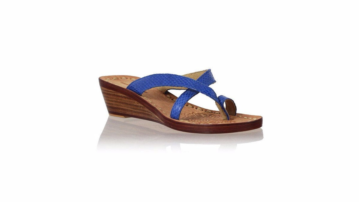 leather shoes Romance without Strap 35mm Wedges - Blue Snake Print, sandals wedges , NILUH DJELANTIK - 1
