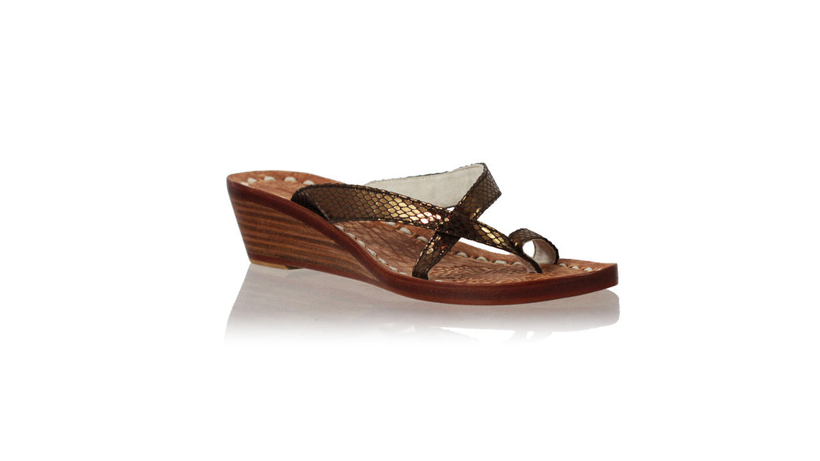 leather shoes Romance without Strap 35mm Wedges - Bronze Snake Print, sandals wedges , NILUH DJELANTIK - 1