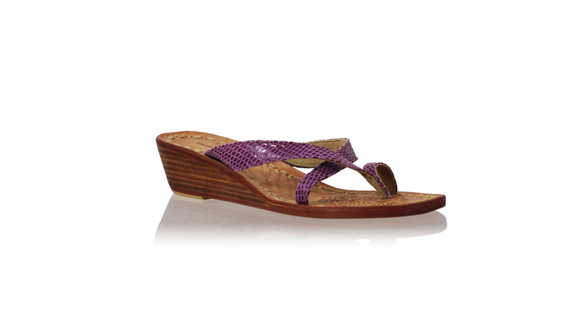 leather shoes Romance without Strap 35mm Wedges - Purple Snake Print, sandals wedges , NILUH DJELANTIK - 1