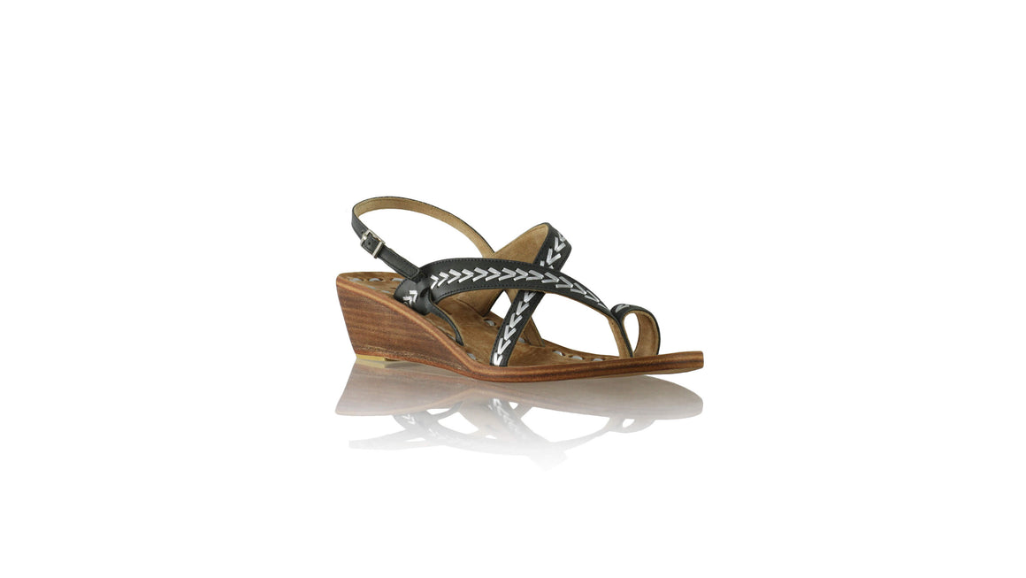 Leather-shoes-Romance withstrap 35mm Wedges - Black & Silver-sandals wedges-NILUH DJELANTIK-NILUH DJELANTIK