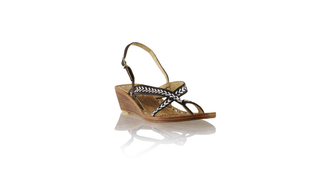 Leather-shoes-Romance with strap 35mm Wedges - Dark Brown & Silver-sandals wedges-NILUH DJELANTIK-NILUH DJELANTIK