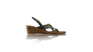 Leather-shoes-Romance withstrap 35mm Wedges - Dark Green & Silver-sandals wedges-NILUH DJELANTIK-NILUH DJELANTIK